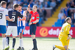 Falkirk's Luke Leahy at ref William Collum. Kilmarnock 4 v 0 Falkirk, second leg of the Scottish Premiership play-off final.