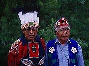 Tlingit elders and chiefs, Paul Henry and Oscar Frank, Sr., Fourth of July, 1991, Yakutat, Alaska.  (Please note:  Licensing of this photograph requires a small extra fee be paid that goes to help support the St. Elias Dancers.  Contact Fred Hirschmann for information - 907-745-6616)