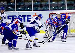 Goalkeeper of Slovenia Robert Kristan and Ziga Pavlin during friendly ice-hockey match between National teams of Slovenia and Kazakhstan, on April 12, 2011 at Hala Tivoli, Ljubljana, Slovenia. Kazakhstan defeated Slovenia 3-0.  (Photo By Vid Ponikvar / Sportida.com)