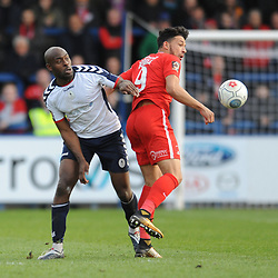 TELFORD COPYRIGHT MIKE SHERIDAN 23/3/2019 - Theo Streete of AFC Telford and Macauley Bonne of Orient during the FA Trophy Semi Final fixture between AFC Telford United and Leyton Orient at the New Bucks Head