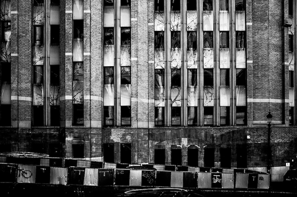 March 2015. Brussels. Trees reflections on a builng's windows.