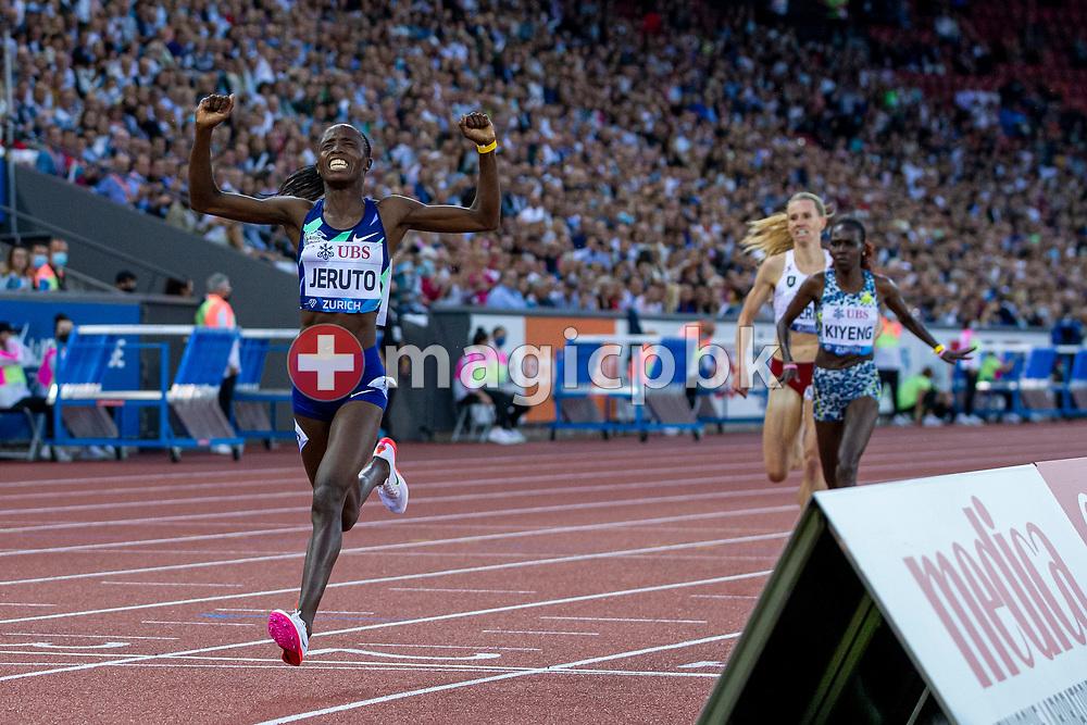 Norah Jeruto of Kenya on her way winning the 3000m Steeplechase Women during the Iaaf Diamond League meeting (Weltklasse Zuerich) at the Letzigrund Stadium in Zurich, Switzerland, Thursday, Sept. 9, 2021. (Photo by Patrick B. Kraemer / MAGICPBK)