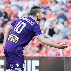 BRISBANE, AUSTRALIA - OCTOBER 30: Nebojsa Marinkovic of the Glory celebrates scoring a goal during the round 4 Hyundai A-League match between the Brisbane Roar and Perth Glory at Suncorp Stadium on October 30, 2016 in Brisbane, Australia. (Photo by Patrick Kearney/Brisbane Roar)