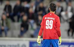 Målmand Kevin Ray Mendoza (Vendsyssel FF) måtte stille op i en lånt trøje fra FC Helsingør under kampen i 1. Division mellem FC Helsingør og Vendsyssel FF den 18. september 2020 på Helsingør Stadion (Foto: Claus Birch).