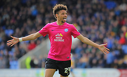 Lee Angol of Peterborough United celebrates after scoring his sides second goal of the game - Mandatory by-line: Joe Dent/JMP - 30/04/2016 - FOOTBALL - New Meadow - Shrewsbury, England - Shrewsbury Town v Peterborough United - Sky Bet League One
