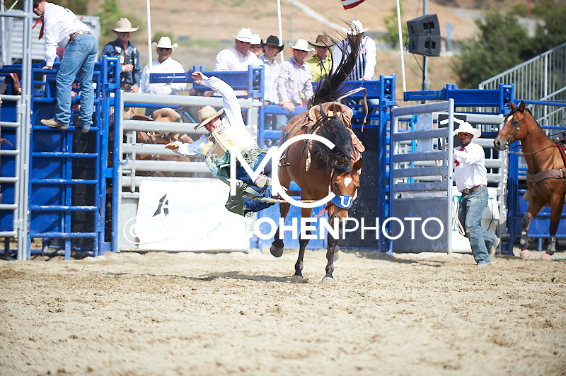 Saddle bronc rider Dustin Flundra of Pincher Creek, AB rides 584 Cruel Intentions at the Rancho Mission Viejo Rodeo in San Juan Capistrano, CA.  <br /> <br /> <br /> UNEDITED LOW-RES PREVIEW<br /> <br /> <br /> File shown may be an unedited low resolution version used as a proof only. All prints are 100% guaranteed for quality. Sizes 8x10+ come with a version for personal social media. I am currently not selling downloads for commercial/brand use.