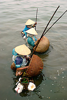 Vietnamese women in conical hats fishing the cold waters of Tay Ho Lake, Hanoi. No matter the season or how cold it may be, tough fishermen will be found trawling Vietnam's waters for the catch of the day - their own survival depends on it.