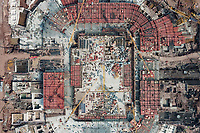 An aerial view of the Guangzhou Evergrande Football Stadium, the future home venue of Chinese professional club Guangzhou Evergrande Taobao F.C., under construction and the shape roughly shown, Guangzhou city, south China's Guangdong province, 28 December 2020.
