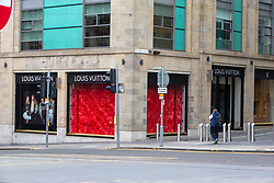 Louis Vuitton shop. Edinburgh city centre on Tuesday 25th March, after the Lockdown.
