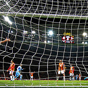 Trabzonspor's scores during their Turkish superleague soccer derby match Galatasaray between Trabzonspor at the AliSamiYen spor kompleksi TT Arena in Istanbul Turkey on Saturday, 22 November 2014. Photo by Aykut AKICI/TURKPIX
