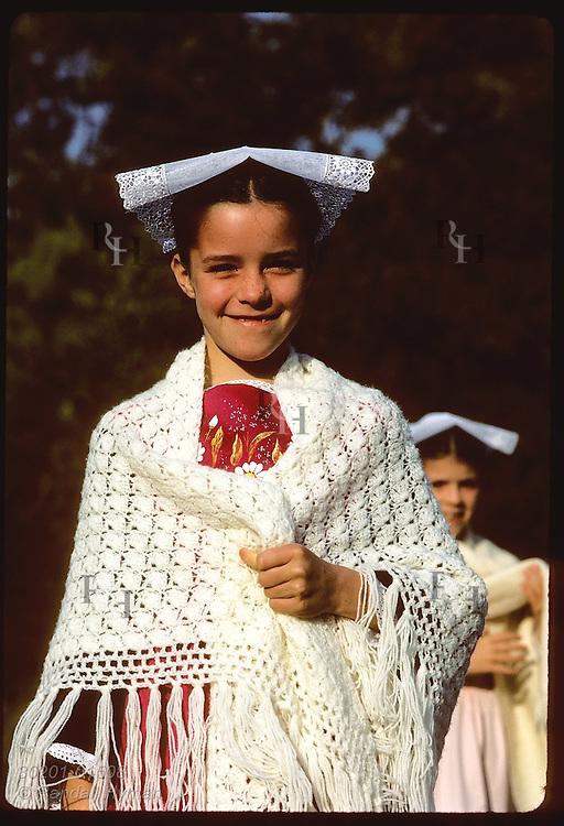 Girl in Breton costume @ 'pardon' festival; town of Crac'h in the Morbihan, Brittany. France