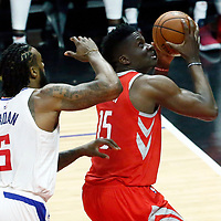 28 February 2018: LA Clippers center DeAndre Jordan (6) defends on Houston Rockets center Clint Capela (15) during the Houston Rockets 105-92 victory over the LA Clippers, at the Staples Center, Los Angeles, California, USA.