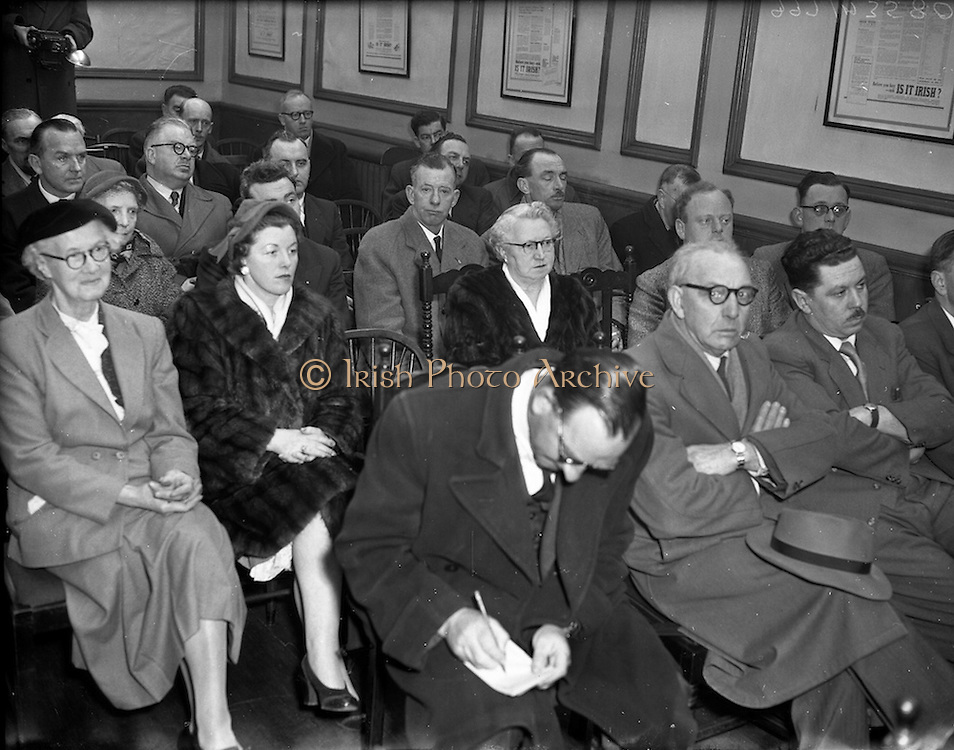 """10/03/1956<br /> 03/10/1956<br /> 10 March 1956<br /> Opening of National Agricultural and Industrial Development Association's """"Irish Week"""" at N.A.I.D.A., St. Stephen's Green, Dublin. A view of some of the attendees at the launch."""
