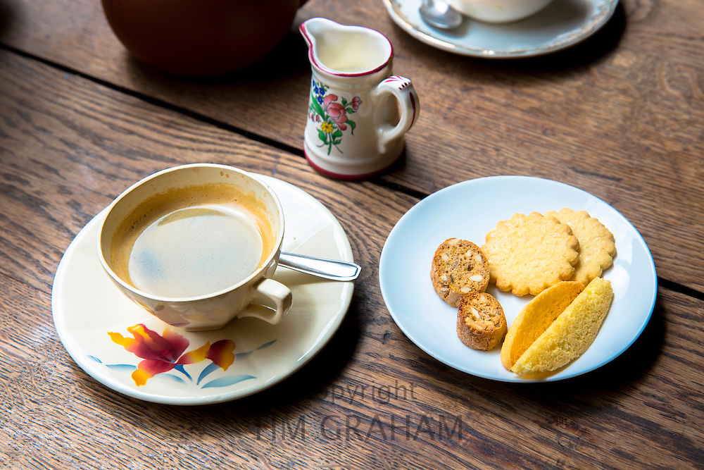 Coffee and biscuits at cafe La Rose de Vergy in Rue de la Chouette in Dijon in the Burgundy region of France