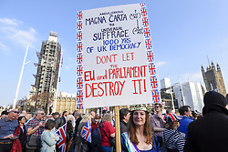 March 29, 2019 - London, UK - LONDON, UK.  Pro-Leave supporters attend a rally in Parliament Square on the day that the UK was due to leave the European Union. MPs have just voted against supporting Prime Minister Theresa May's Withdrawal Agreement for a third time. (Credit Image: © Stephen Chung/London News Pictures via ZUMA Wire)