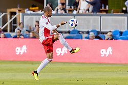 June 13, 2018 - San Jose, CA, U.S. - SAN JOSE, CA - JUNE 13: New England Revolution Forward Teal Bunbury (10) traps the ball during the MLS game between the New England Revolution and the San Jose Earthquakes on June 13, 2018, at Avaya Stadium in San Jose, CA. The game ended in a 2-2 tie. (Photo by Bob Kupbens/Icon Sportswire) (Credit Image: © Bob Kupbens/Icon SMI via ZUMA Press)