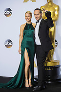 "88th Academy Awards press room.<br /> Margot Robbie and Emmanuel Lubezki, winner for the cinematography award for the film ""The Revenant."""