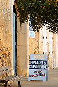 Gruissan village. La Clape. Languedoc. The wine shop and tasting room. France. Europe.