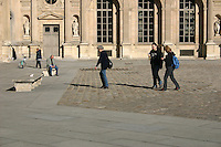 Visitors at the Louvre museum, Paris, France.<br />