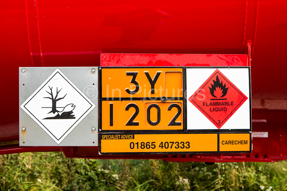 A Dangerous for the environment hazard storage sign on the side of a petrochemical lorry.  The European Agreement concerning the International Carriage of Dangerous Goods by Road (ADR) fixed pictograms for transportation. Vehicles carrying dangerous goods have to be fitted with orange signs, where the lower number identifies the substance, while the upper number is a key for the threat it may pose.