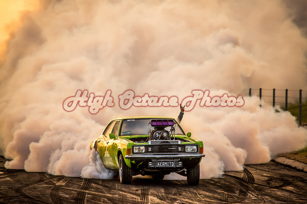 Benny Circle entering the Springmount burnout pad, in KERMITD, on the final day of Northern Nats 2018. <br /> Shot at Northern Nats 2018, Springmount Raceway, Far Northern Queensland - © Phil Luyer - High Octane Photos