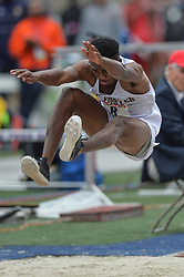 April 27, 2018 - Philadelphia, Pennsylvania, U.S - SHAWN-D THOMPSON (8) from G.C Foster competes in the Long Jump Championships during the meet held in Franklin Field in Philadelphia, Pennsylvania. (Credit Image: © Amy Sanderson via ZUMA Wire)