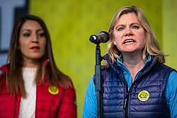 "© Licensed to London News Pictures. 23/03/2019. London, UK. Former Cabinet Minister Justine Greening (R) speaks in Parliament Square after an estimated one million people marched through central London to demand that government allow a ""People's Vote"" on the Brexit deal. Several key votes will be held in Parliament in the coming week. Photo credit: Rob Pinney/LNP"