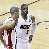 19 June 2012: Miami Heat shooting guard Dwyane Wade (3) smiles, next to Miami Heat small forward Shane Battier (31), at the end of the Miami Heat 104-98 victory over the Oklahoma City Thunder, in Game 4 of the 2012 NBA Finals, at the AmericanAirlinesArena, Miami, Florida, USA.