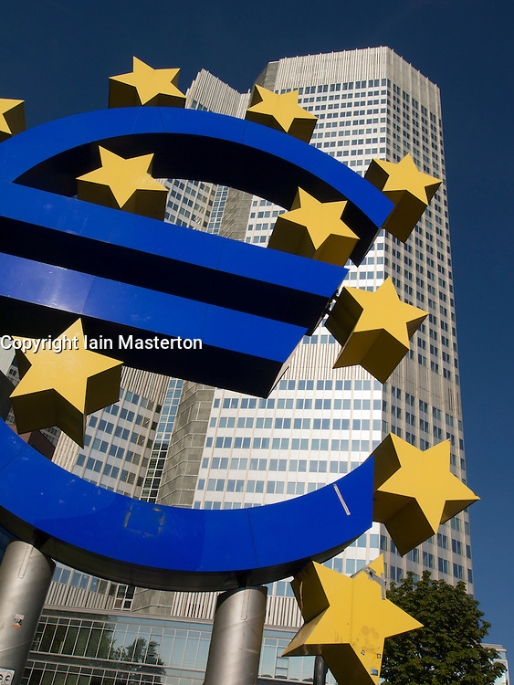 Large Euro currency sign outside headquarters of European Central Bank (ECB) in Frankfurt Germany