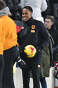 Hull City striker Abel Hernandez (9) carries the ball off at end of game due to scoring three goals  during the Sky Bet Championship match between Hull City and Charlton Athletic at the KC Stadium, Kingston upon Hull, England on 16 January 2016. Photo by Ian Lyall.