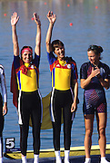 Sydney, AUSTRALIA, Gold medallist ROM LW2X,   BURCICA, Constanta / TAMAS, Angela , wave to the crowd, at the 2000 Olympic Regatta, Penrith Lakes. [Photo Peter Spurrier/Intersport Images] 2000 Olympic Rowing Regatta00085138.tif