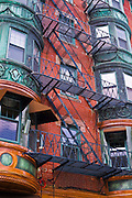Apartments and fire escape in the North End, Boston, Massachusetts