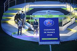 May 12, 2018 - Paris, France - NATHALIE BOY DE LA TOUR (PRESIDENTE LFP) - Nasser Al Khelaifi (PRESIDENT DU PSG - UNAI EMERY (ENTRAINEUR PSG) - TROPHEE - JOIE (Credit Image: © Panoramic via ZUMA Press)