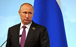 July 8, 2017 - Hamburg, Germany - Russian President Vladimir Putin during a news conference following the conclusion of the G20 Summit meeting July 8, 2017 in Hamburg, Germany. (Credit Image: © Michael Klimentyev/Planet Pix via ZUMA Wire)