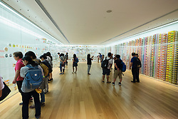 Interior display of historic cup noodle brands and packaging at Cup Noodle Museum in Minato Mirai district of Yokohama Japan