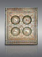 Picture of a Roman mosaics design depicting the Four Seasons, from the ancient Roman city of Thysdrus. 3rd century AD, House in Jiliani Guirat area. El Djem Archaeological Museum, El Djem, Tunisia. .<br /> <br /> If you prefer to buy from our ALAMY PHOTO LIBRARY Collection visit : https://www.alamy.com/portfolio/paul-williams-funkystock/roman-mosaic.html . Type - El Djem - into the LOWER SEARCH WITHIN GALLERY box. Refine search by adding background colour, place, museum etc<br /> <br /> Visit our ROMAN MOSAIC PHOTO COLLECTIONS for more photos to download as wall art prints https://funkystock.photoshelter.com/gallery-collection/Roman-Mosaics-Art-Pictures-Images/C0000LcfNel7FpLI