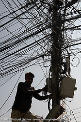 Typical overhead wiring in Kathmandu as seen after our Himalayan motorcycling adventure, Nepal. Friday, November 16, 2018. Photography ©2018 Michael Lichter.