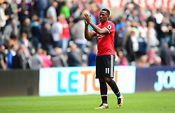 Anthony Martial of Manchester United claps the traveling fans. - Mandatory by-line: Alex James/JMP - 19/08/2017 - FOOTBALL - Liberty Stadium - Swansea, England - Swansea City v Manchester United - Premier League