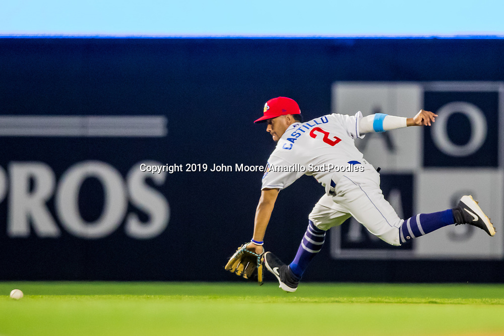 Amarillo Sod Poodles infielder Ivan Castillo (2) fields a ground ball against the MidlandRockhounds during the Texas League Playoffs on Thursday, Sept. 5, 2019, at HODGETOWN in Amarillo, Texas. [Photo by John Moore/Amarillo Sod Poodles]