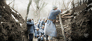 """Colorized photographs soldiers from the World War One<br /> <br /> With his impressive colorized photographs of the World War One, Frédéric Duriez gives us a new look at the conflict that ravaged the world between 1914 and 1918, revealing the difficult daily life of the French soldiers. <br /> <br /> Photo Shows: """"February 12, 1917 - Bimont Farm (near) (south of the Bois Saint-Mard) South of the ravine, Mingasson trench<br /> ©Frédéric Duriez/Exclusivepix Media"""