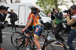Lizzie Deignan (GBR) and Amy Pieters (NED) of  Boels-Dolmans Cycling Team celebrate the win after the Tour de Yorkshire - a 122.5 km road race, between Tadcaster and Harrogate on April 29, 2017, in Yorkshire, United Kingdom.