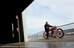 Arlen Ness on his custom known as Half and Half at his new store. Dublin, CA. 2003. Photography ©2004 Michael Lichter.