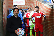 Sponsor during the EFL Sky Bet League 1 match between AFC Wimbledon and Scunthorpe United at the Cherry Red Records Stadium, Kingston, England on 15 September 2018.