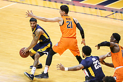 Feb 10, 2018; Morgantown, WV, USA; West Virginia Mountaineers guard James Bolden (3) passes the ball during the first half against the Oklahoma State Cowboys at WVU Coliseum. Mandatory Credit: Ben Queen-USA TODAY Sports