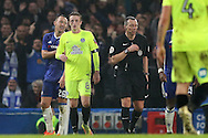 John Terry, the Chelsea captain (l) looks as if he can't believe it as he is  sent off by Referee Kevin Friend.The Emirates FA cup, 3rd round match, Chelsea v Peterborough Utd at Stamford Bridge in London on Sunday 8th January 2017.<br /> pic by John Patrick Fletcher, Andrew Orchard sports photography.