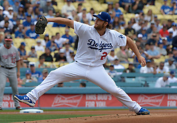 June 7, 2017 - Los Angeles, California, U.S. - Los Angeles Dodgers starting pitcher Clayton Kershaw throws to the plate against the Washington Nationals in the first inning of a Major League baseball game at Dodger Stadium on Wednesday, June 7, 2017 in Los Angeles. (Photo by Keith Birmingham, Pasadena Star-News/SCNG) (Credit Image: © San Gabriel Valley Tribune via ZUMA Wire)