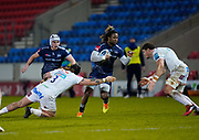Sale Sharks wing Marland Yarde during a Gallagher Premiership Round 11 Rugby Union match, Friday, Feb 26, 2021, in Eccles, United Kingdom. (Steve Flynn/Image of Sport)