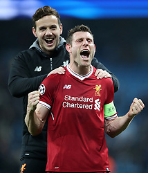 Liverpool's James Milner and Danny Ward celebrate victory after the UEFA Champions League, Quarter Final at the Etihad Stadium, Manchester.