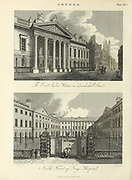 East India House (top) and Guy's Hospital, London  Architecture in the City of London Copperplate engraving From the Encyclopaedia Londinensis or, Universal dictionary of arts, sciences, and literature; Volume XIII;  Edited by Wilkes, John. Published in London in 1815