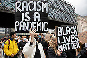 Following the death of George Floyd while in the custody of police in Minneapolis, demonstrations of solidarity have started all over the world as people gather to protest against institutional racism and in support of the Black Lives Matter movement, as seen here with thousands of people, mostly wearing face masks, gathering in Centenary Square on 4th June 2020 in Birmingham, England, United Kingdom. Black Lives Matter is an international human rights movement, originating in the African-American community, that campaigns against violence and systemic racism towards black people.